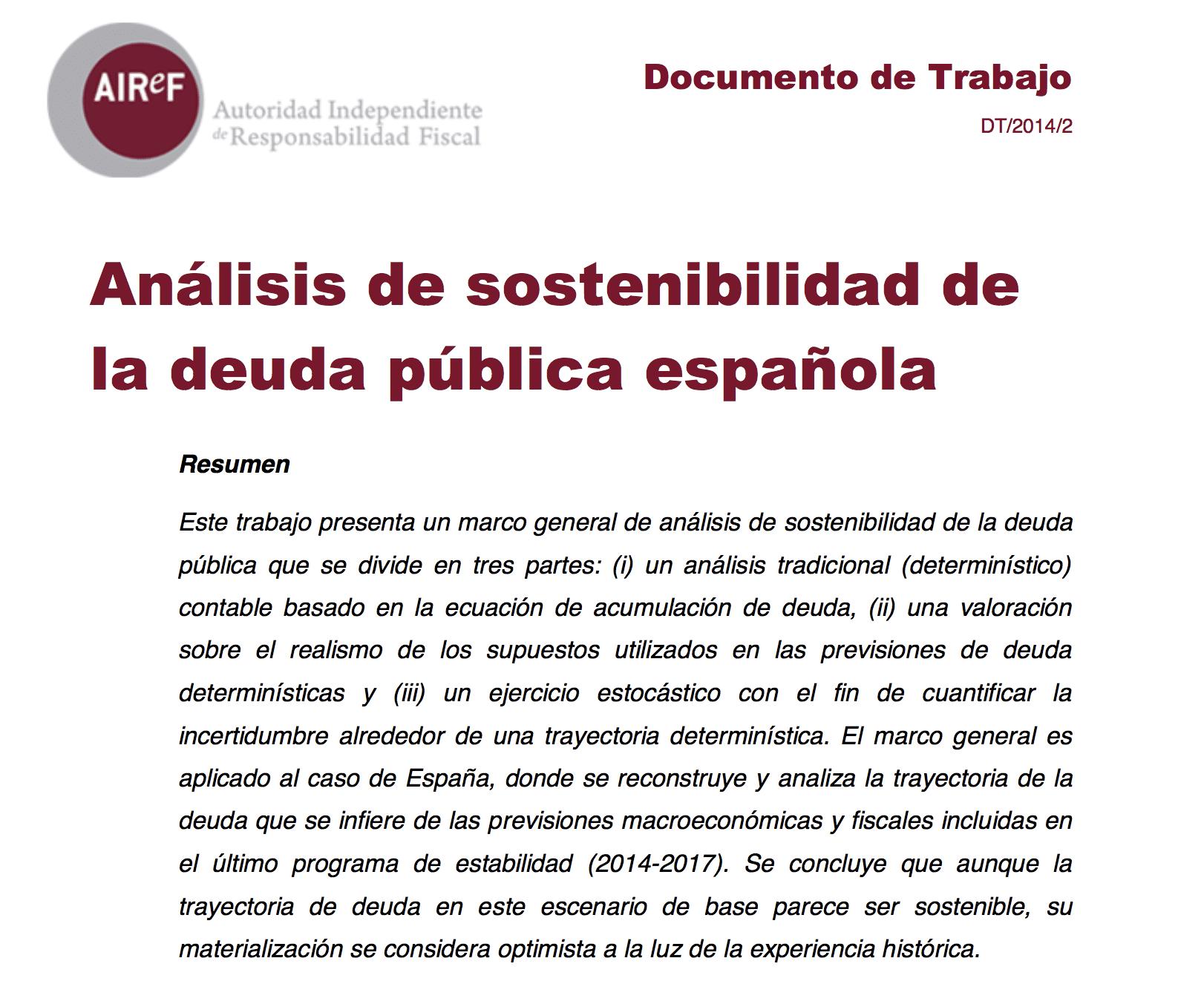 Análisis de la sostenibilidad de la deuda pública española