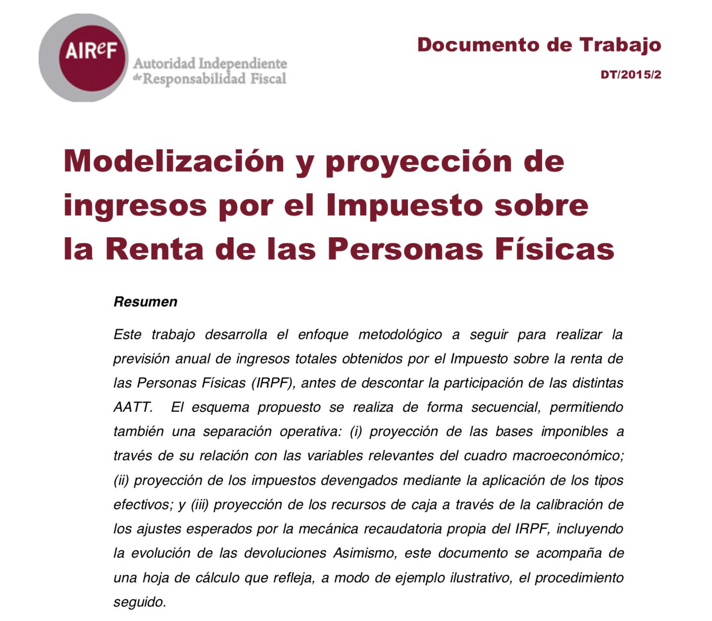 Modelización y proyección de ingresos por el IRPF
