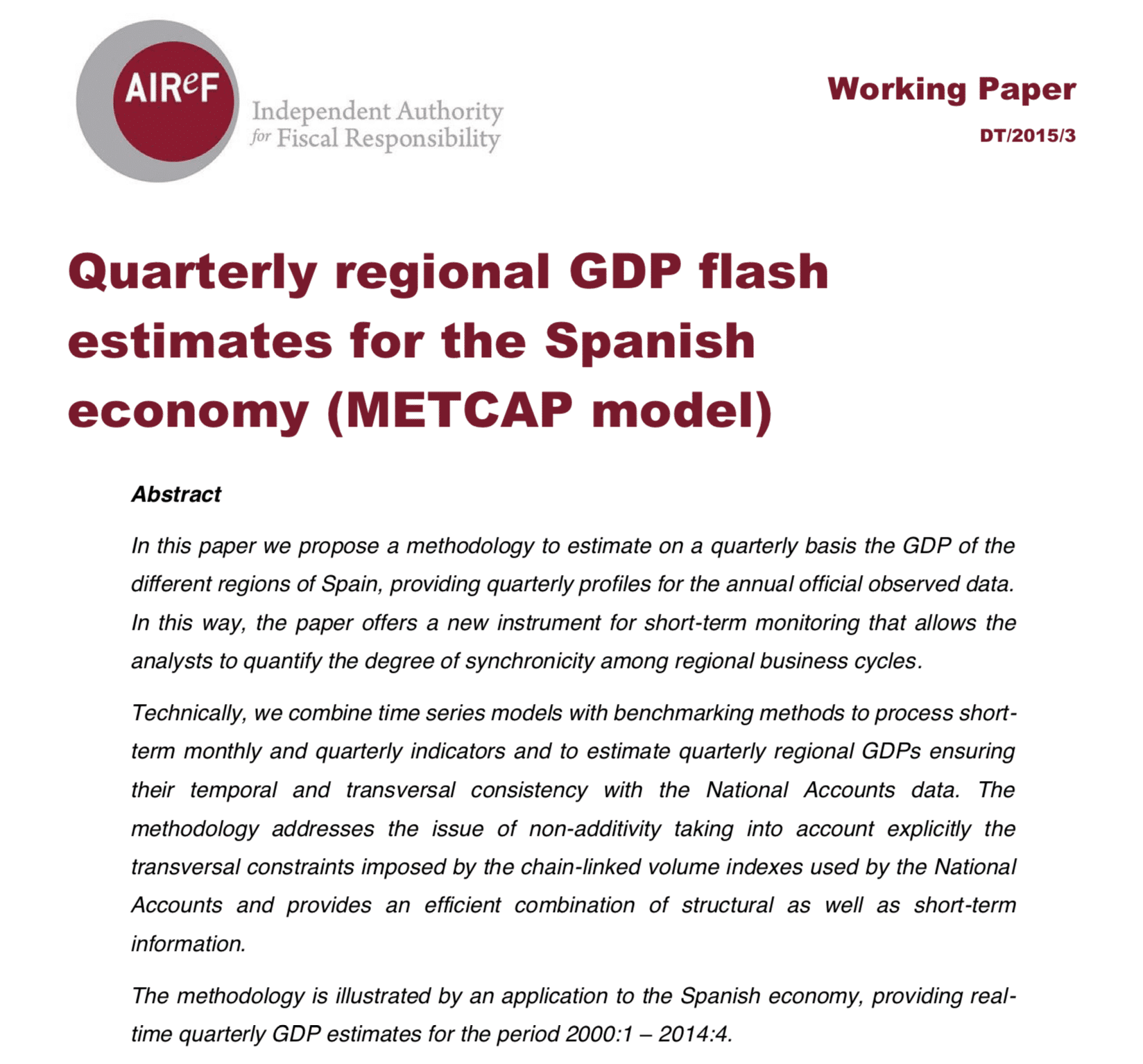 Quarterly regional GDP flash estimates for the Spanish economy