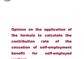 Opinion on the application of the formula to calculate the contribution rate of the cessation of self-employment benefit for self-employed workers