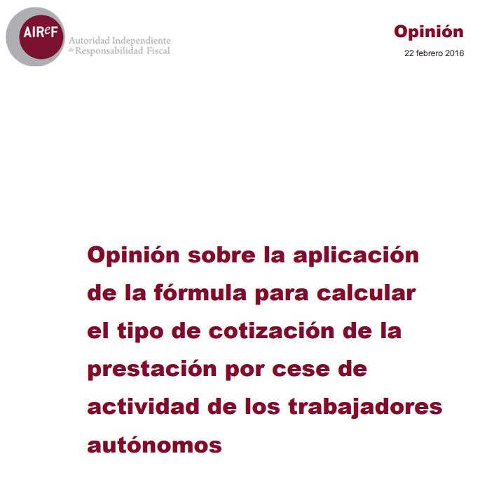 Opinión sobre la aplicación de la formula para recalcular el tipo de cotización por cese de actividad de autónomos