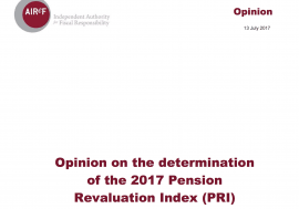 Opinion on the determination of the 2017 Pension Revaluation Index