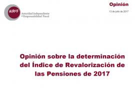 Opinión sobre la determinación del Índice de Revalorización de las Pensiones de 2017