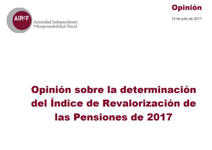 Opinión sobre la determinación del índice de revalorización de las pensiones 2017