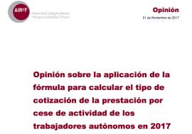 Opinión sobre la aplicación de la fórmula para calcular el tipo de cotización de la prestación por cese de actividad de los trabajadores autónomos en 2017