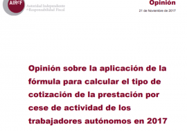 Opinion on the formula application for calculating the self-employed workers cessation of activity contribution rate in 2017. Only available in spanish