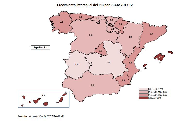 Mapa sobre el crecimiento interanual del PIB por Comunidades Autónomas