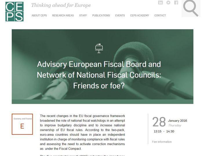 Portada de la jornada sobre el Consejo Asesor Fiscal Europeo y la Red de IFIs de la UE