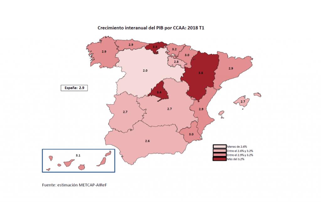 Mapa del crecimiento interanual del PIB por Comunidades Autónomas