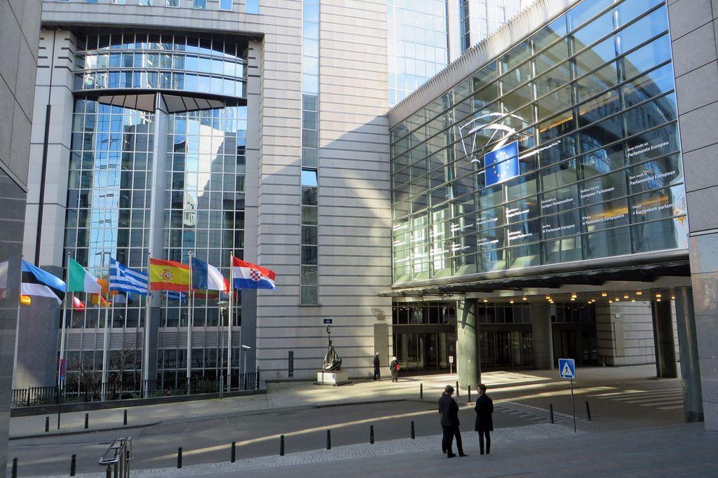 Varias banderas europeas en Bruselas.