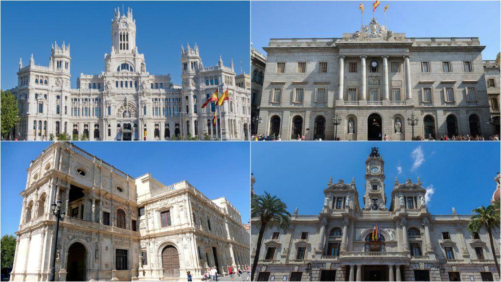 Varios de los ayuntamientos más importantes de España.