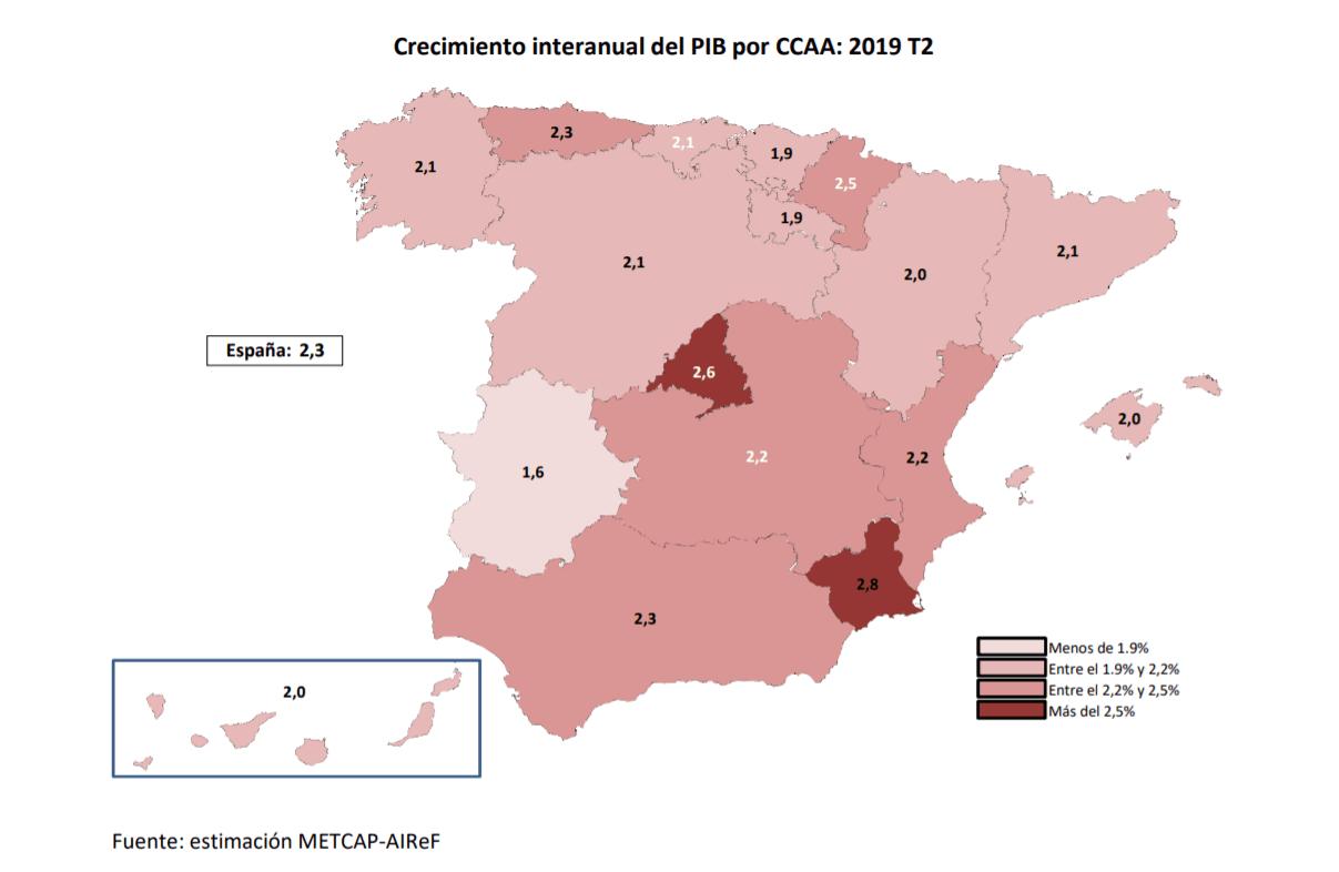 Mapa de España según el PIB