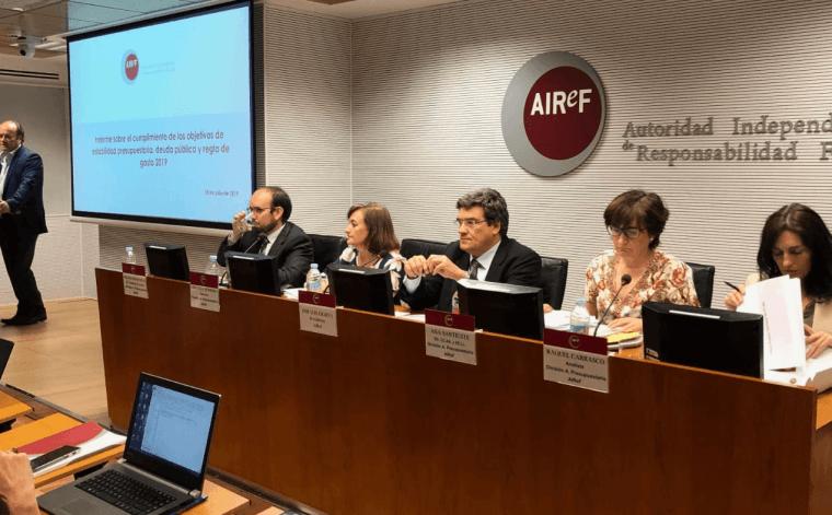 La AIReF sitúa el déficit del conjunto de las Administraciones Públicas para 2019 en el entorno del 2% del PIB