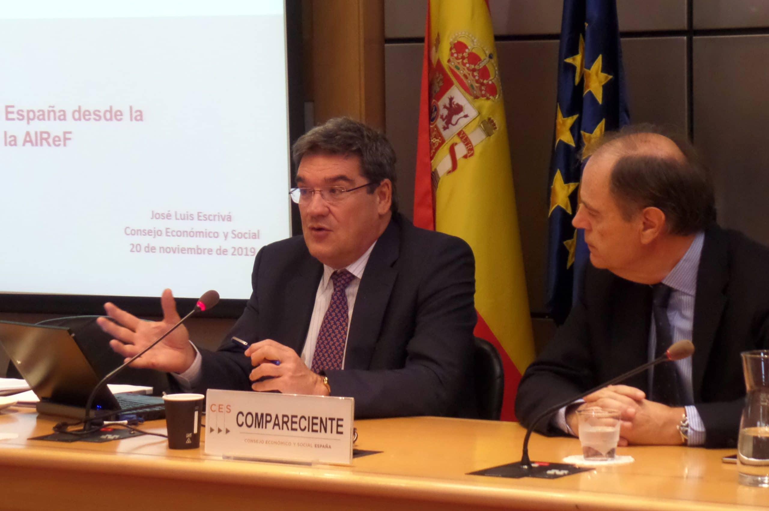José Luis Escrivá durante la charla en el Consejo Económico y Social