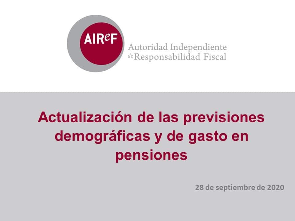 Actualización previsiones demográficas y de gasto en pensiones