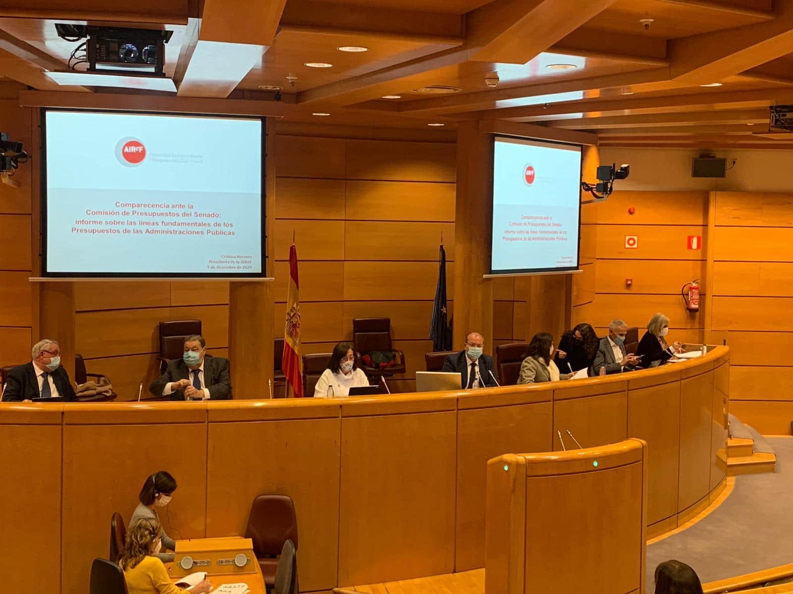 Cristina Herrero en la Comisión de Presupuestos del Senado